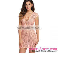 women suits 2017 Pink V Neck Lace up sexy cover up beach dress