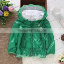green fall windproof hooded outerwear baby girl clothes 5pcs/lot