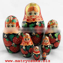Matryoshka Souvenirs from Russia Nesting Wood Dolls with Traditional Strawberries Paintings 7pc