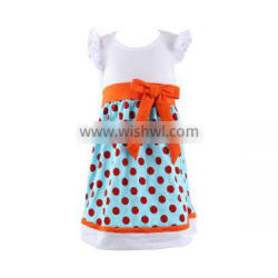 Summer new design polka dots ruffle dress children's boutique clothing cotton baby girls dress OEM service factory direct sale