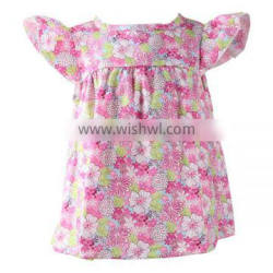 Latest design wholesale little baby girls princess fashion print dress cotton baby girls dress