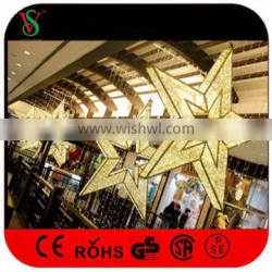Custom Commercial Christmas Large Hanging Star Lights for Shopping Mall