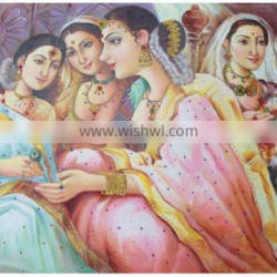 Indian Canvas Painting Maharani And Her Companions