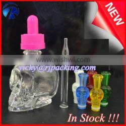 personal care industrial use and essential oil use 15ml skull shape glass dropper bottle with child proof for e juice