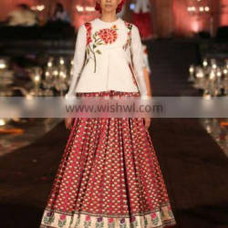 Ivory Top and Red Brocade Lengha Set