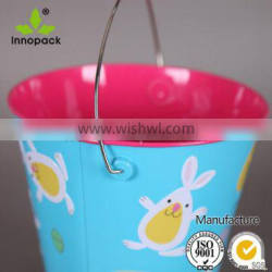 personalized easter tin buckets with Bunny and Egg