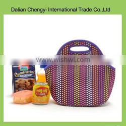 Wholesale high capacity stripes insulted polyester cooler bag with grip hole