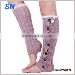 Beautiful Lace Knitted Boot Cuffs leg warmers with button