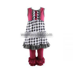 Wholesale 2016 children outfit Houndstooth printed dress match wine triple ruffle pants clothing set baby girl fall clothes