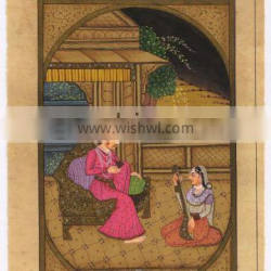 Indian Hand Painted Mughal Harem Scene Painting Historical Traditional Art Original Miniature Portrait