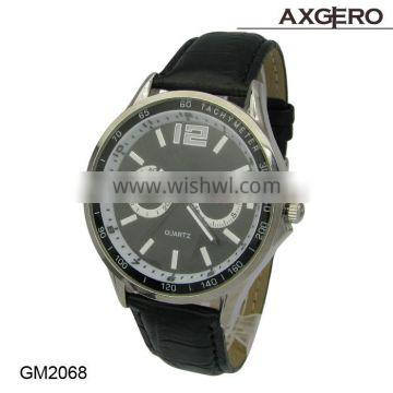 Build your own watch, all stainless steel case watch, leather strap watch, 3ATM waterproof