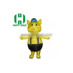 Hot sale inflatable yellow piggy /advertising movable cartoon character