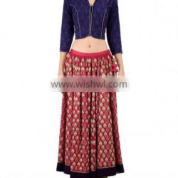 Red Lengha Set with Embroidery