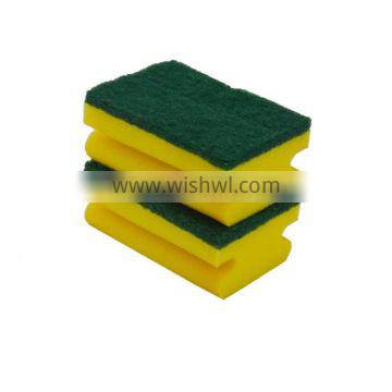 Promotion Durable Kitchen Cleaning Non-abrasive Nylon Green Dish Non-scratch Sponge Scouring Pad for kichen,wave