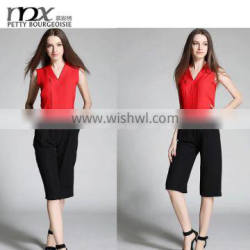 Fashion tops and pants twinset ladies office wear clothing 2016