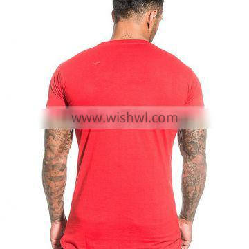 Mens Plain gym running fitness T Shirt with hem bottom