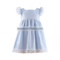 Kaiyo Wholesale children lace ruffle dress oem service princess seersucker dress home dress