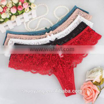 Factory direct sales S-XL Size Women Sexy Lace Underwear Briefs Panties Thongs G-string pant