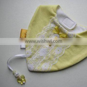 Hot sell high quality baby lace bibs waterproof fabric for baby bib