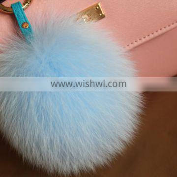 Wholesale Fluffy Lovely Round 13cm Dyed Fox Fur Pompom with Keychain