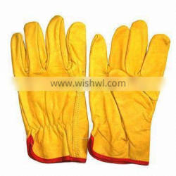 2009 cow split leather gloves/cow crust leather/Yellow Cowhide suede Leather Gloves working gloves Ri-WG-61-Y