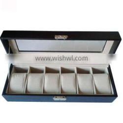 Plain black pu Mens Watch Box 6 installed can be customized