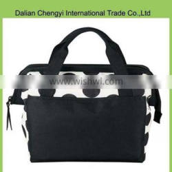 Wholesale black dot oxford cooler picnic bags with handle