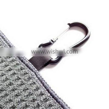 High quality professional microfiber golf towel with metal clip
