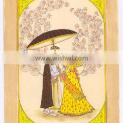 Beautiful Art Radha Krishna Indian Religious Miniature Painting Ethnic Handmade Paper Original Water Color Painting