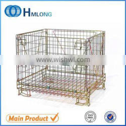 Supermarket stacking foldable secure storage cage with wheels basket