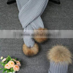 Best Selling Winter Fashion Real Raccon Fur Pompom Wool Knitted Woman Crochet Scarf