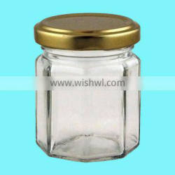 4oz Clear Glass Octagonal Jar for jam, honey, marmalade.