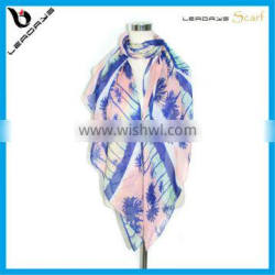 coco tree printing spring and summer poly scarves