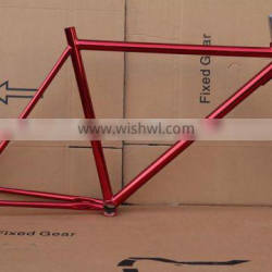 Cheap oem fixed gear bicycle frame hi-ten steel fixie frame chrome color frames