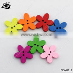 20MM Flower shaped Wood Buttons Colorful Buttons For Clothing Decoration DIY Craft Accessories