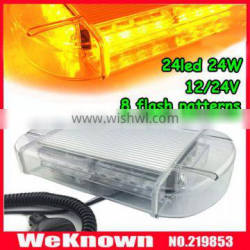 DC12V-24V led lightbar 24 LED 24W Beacon light with Magnets Emergency Strobe Light bar 4 colors LED warning Light