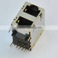 RJ45 2*1 port Network Connector/Jack with shield
