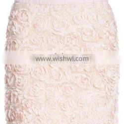 2014 hot young girls floral white mini skirt design with contrast waistband