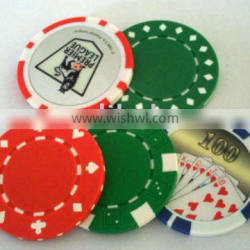 Poker chip with stickers