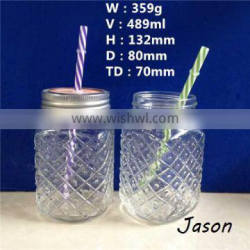 16oz 480ml glass mason jars with lid and straw