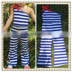 Newest Fashion baby rompers wholesale cute toddler girl one shoulder spring summer stripes jumper