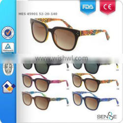 2015 new sunglasses with colorful pattern temple