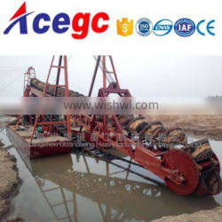 Hot selling bucket river lake sand/gold ore chain wheel dredge boat for sale
