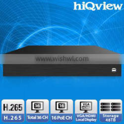 HIQ-3936 H.265 PoE 36 Channel Onvif NVR with Local Display
