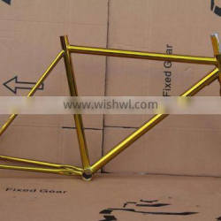 Chrome golden single speed racing bicycle frame fast delivery fixie frames