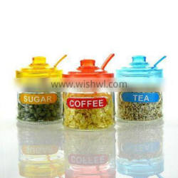 glass tea sugar coffee nut canister with easy open lid and spoon