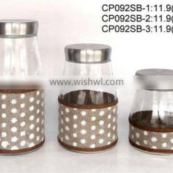 CP092SB round glass jar with weaved coating