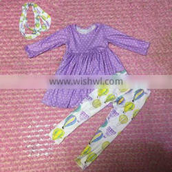 new arrival cute baby fall clothes purple dots dress with balloon fabric leggings girls outfits