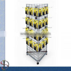 3 sides grid panel battery display stand