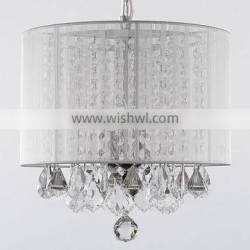 Home Decorations Modern Design Crystal Chandelier Hanging Lighting Pendant Light with Fabric Shade CZ1055/3W